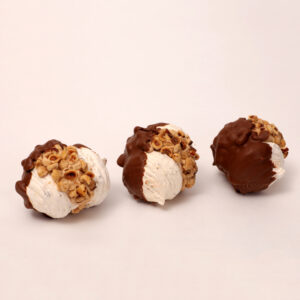 Hazelnootjes gesopt in chocolade en progresschuim uit eigen bakkerij van bakkerij floor van lieshout